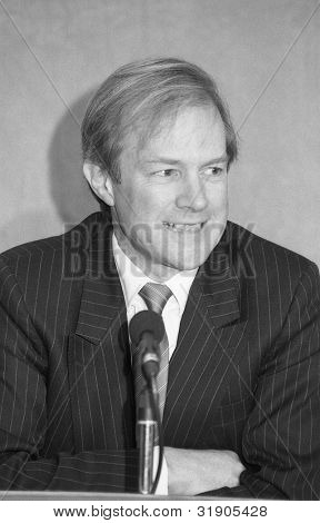 LONDON - FEBRUARY 26: Rt.Hon. Peter Lilley, Secretary of State for Trade and Industry and Conservative Member of Parliament for St.Albans, attends a press conference on February 26, 1992 in London.