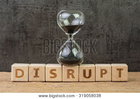 Disruption, Change Or New Technology Or Trend To Evolve New Product Concept, Sand Glass Or Hourglass