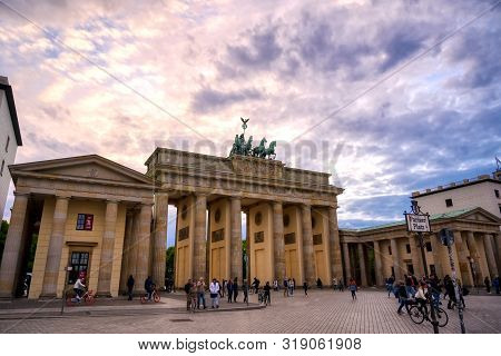 Berlin, Germany - May 5, 2019 - The Brandenburg Gate On A Sunny Day Located In Pariser Platz In The