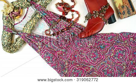 Boho Chic Fashion Layout Flat Lay With Dress And Accessories.