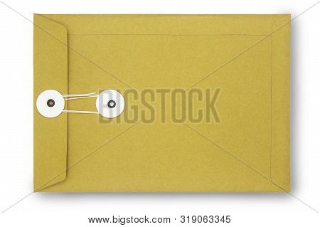 Close Up Kraft Paper Envelope Isolated On White With Clipping Path. Kraft Paper Envelope Di Cut With
