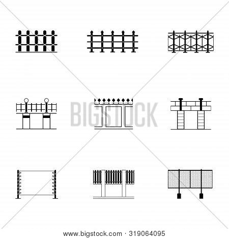 Set Of Black And White Fence Different Icon With Boundary Flat Style, Vector Illustration