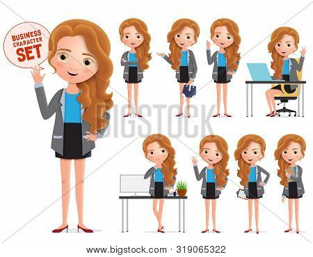 Businesswoman Vector Character Set. Business Woman Characters Wearing Professional Office Attire Sta