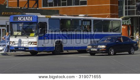 Kazakhstan, Ust-kamenogorsk, August 10, 2019: Scania Cn113. Old Bus On One Of The City Streets. Urba