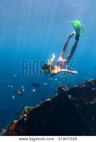 Mladá žena potápění na dechu drží a pokutování v modré transparentní moři poblíž vraku Tulamben, Indonesi
