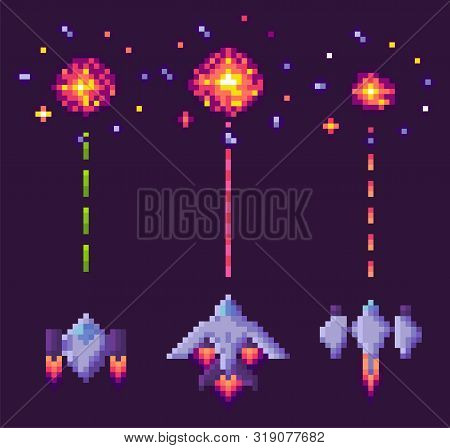 Spaceship Shooting, Explosion Of Pixelated Object, Invaders And Cosmic Sign On Purple, Video And Pix