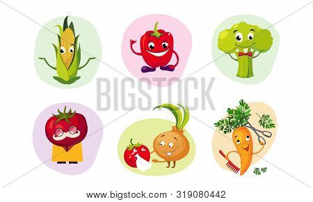 Cute Happy Vegetables Characters Set, Funny Mascots With Smiling Faces, Corncob, Tomato, Broccoli, O