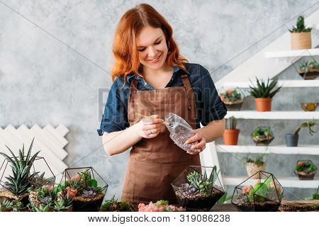 Diy Florarium. Creative Leisure. Woman Enjoying Planting Succulents In Glass Geometric Vases At Home