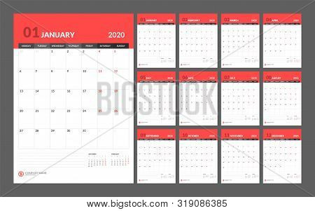 Calendar For 2020 New Year In Clean Minimal Table Simple Style.