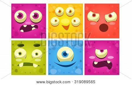 Funny Monster Faces Set, Colorful Square Mutant Emojis, Cute Emoticons With Different Emotions Vecto