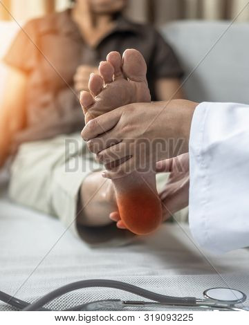 Plantar Fasciitis or heel pain illness in feet of woman patient who having medical exam with orthopaedic doctor on aching tendon, inflammation or disorder of the connective tissue on foot and toe poster