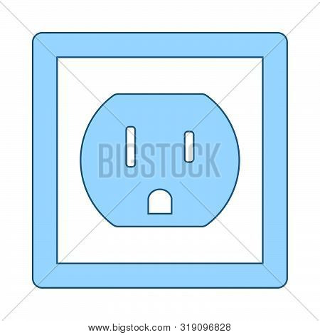 Electric Outlet Icon. Thin Line With Blue Fill Design. Vector Illustration.