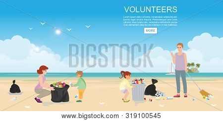 Happy Volunteer Family Collecting Rubbish On Beach.family Clean The Beach.people Put Away Garbage, T