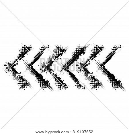 Black Grunge Square Corner Frame With Race Elements Isolated On Whitte Background