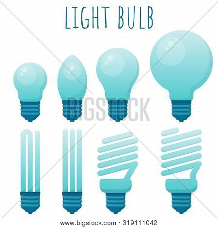 Vector Illustration Of Main Electric Lighting Types: Incandescent Light Bulb, Halogen Lamp, Cfl And
