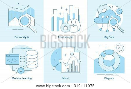 Modern Thin Line Design For Analysis, Machine Learning Website Icons. Vector Illustration Concept Fo