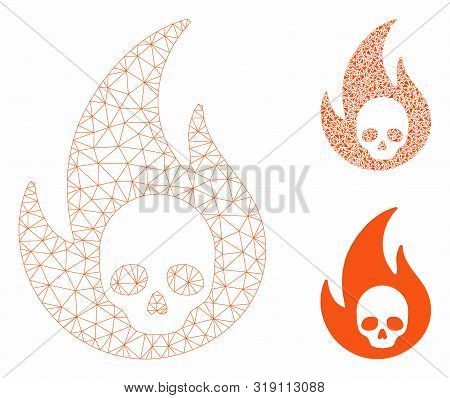 Mesh Hell Fire Model With Triangle Mosaic Icon. Wire Frame Triangular Mesh Of Hell Fire. Vector Coll