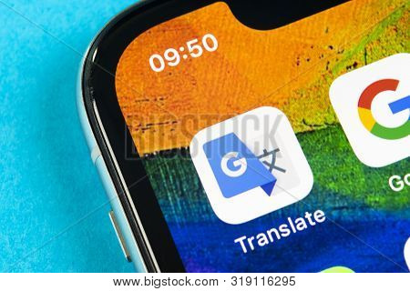 Helsinki, Finland, May 4, 2019: Google Translate Application Icon On Apple Iphone X Screen Close-up.