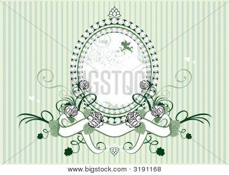 Little cupid and rose frame vector illustration poster