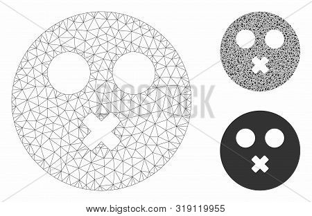 Mesh Mute Smiley Model With Triangle Mosaic Icon. Wire Carcass Polygonal Mesh Of Mute Smiley. Vector