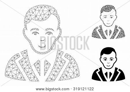 Mesh Noble Model With Triangle Mosaic Icon. Wire Carcass Triangular Network Of Noble. Vector Mosaic