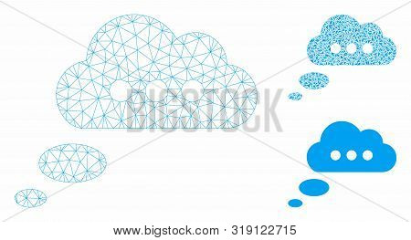 Mesh Opinion Cloud Model With Triangle Mosaic Icon. Wire Carcass Triangular Mesh Of Opinion Cloud. V