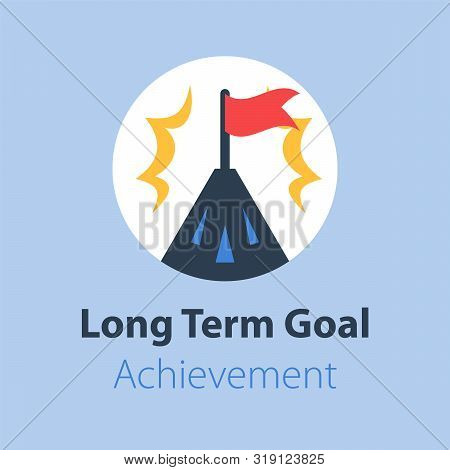 Long Term Goal, Mountain Summit With Flag, Way To Success, Next Level Aim, Higher Achievement, Vecto