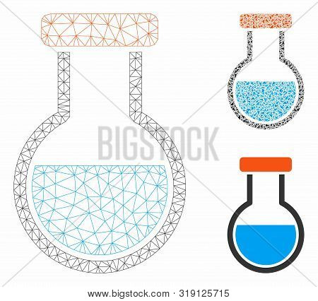 Mesh Phial Model With Triangle Mosaic Icon. Wire Carcass Triangular Mesh Of Phial. Vector Mosaic Of