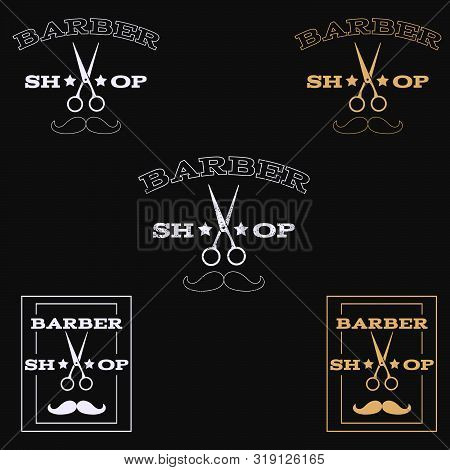 Barber Shop Vintage White Label Symbol On Black Bg Vector Eps 10