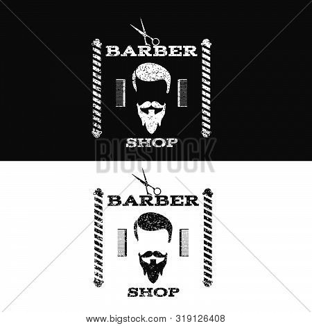 Retro Grunge Vintage Barber Shop Label Symbol On Black Bg Vector Eps 10