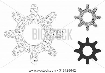 Mesh Pinion Model With Triangle Mosaic Icon. Wire Carcass Polygonal Mesh Of Pinion. Vector Mosaic Of