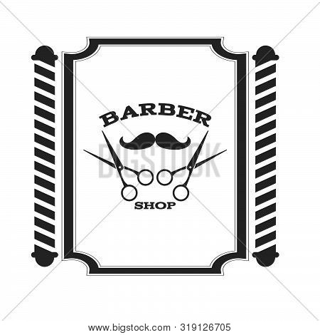 Scissor Barber Shop Label Symbol On White Vector Eps 10