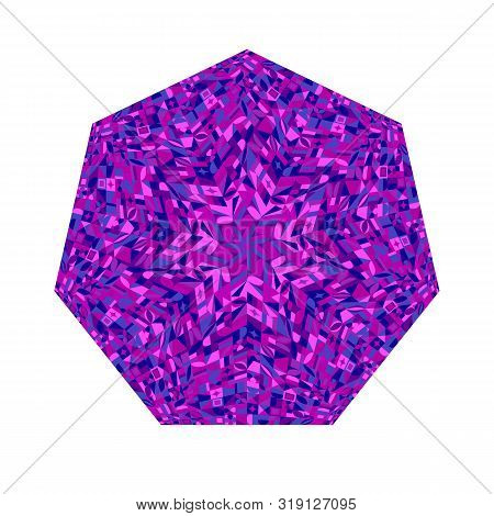 Abstract Isolated Tiled Mosaic Heptagon Logo Template - Geometrical Ornamental Colorful Vector Eleme