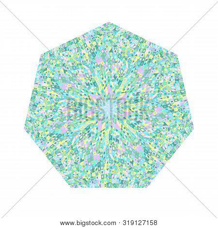 Tiled Mosaic Heptagon Symbol - Heptagonal Ornamental Colorful Geometrical Vector Design Element