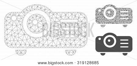 Mesh Projector Model With Triangle Mosaic Icon. Wire Carcass Triangular Mesh Of Projector. Vector Mo