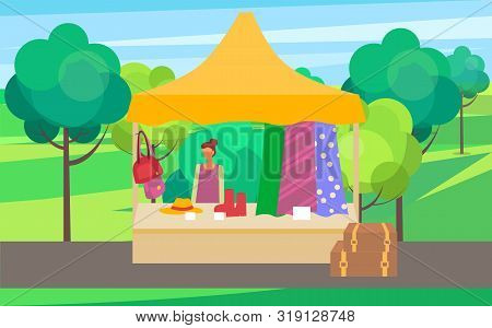 Summer Or Spring Fair Vector, Seller With Fabric And Clothes For Females. Salesperson With Shoes And