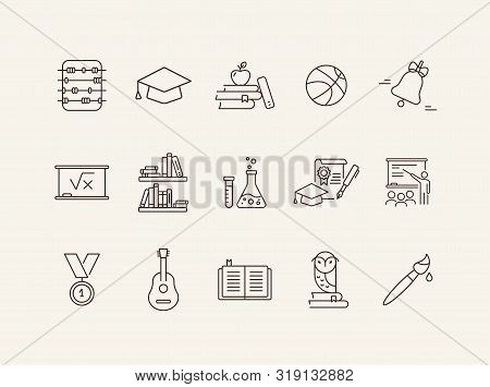 High School Icons. Set Of Line Icons. Abacus, Medal, Academic Cap. Education Concept. Vector Illustr