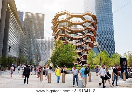 New York, Usa - July 9, 2019: Vessel (architect Thomas Heatherwick), Hudson Yards Staircase, At The