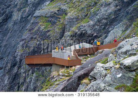 Trollstigen, Norway - July 30, 2018: Unique Viewpoint Platform Looking Out Over The Trollstigen Or T