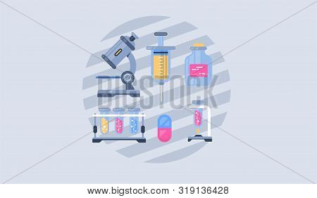 Medical Tools Vector Icons Set. Medicine And Heathcare Concept. Hospital Equipment.