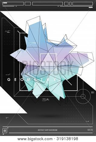 Abstract Poster With Low Poly Shape. Creative Template With Poligonal Figure.