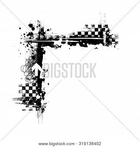 Black Grunge Square Frame Corner With Race Elements Isolated On White Background