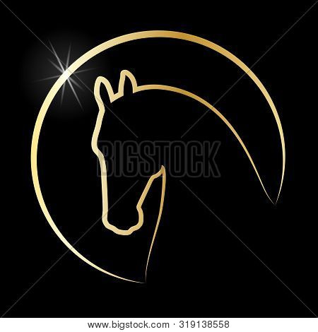 Head Horse Sign. Horse Icon. Isolated Silhouette Head Horse In The Circle On Black Background. Logo.