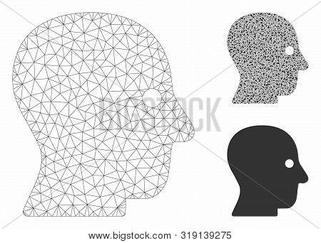 Mesh Silent Head Model With Triangle Mosaic Icon. Wire Carcass Triangular Mesh Of Silent Head. Vecto