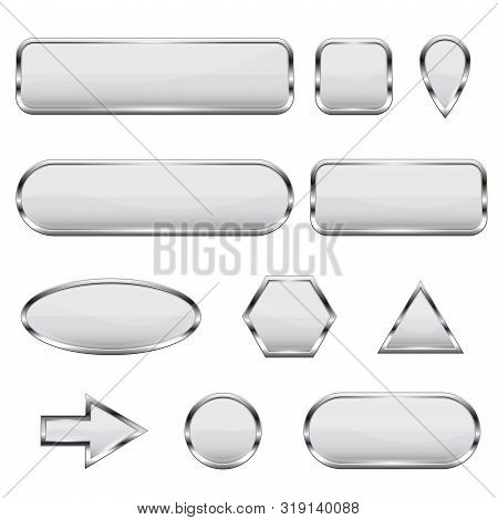 White 3d Icons. Glass Shiny Buttons. Vector Illustration Isolated On White Background
