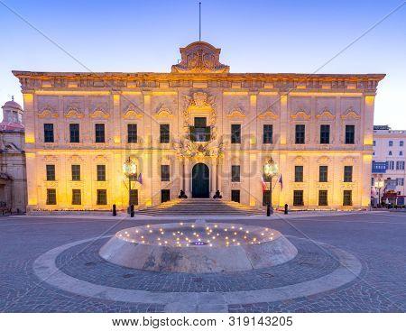 Auberge De Castille In Valletta At Dawn. Malta.