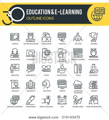 Set Of Outline Icons On Following Themes - Education, Science, Online Training And Courses, Universi
