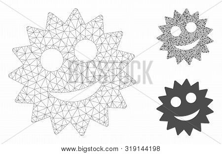 Mesh Smile Token Model With Triangle Mosaic Icon. Wire Frame Triangular Mesh Of Smile Token. Vector
