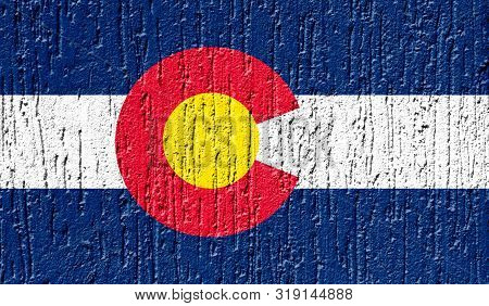 Flag State Of Colorado Close Up Painted On A Cracked Wall