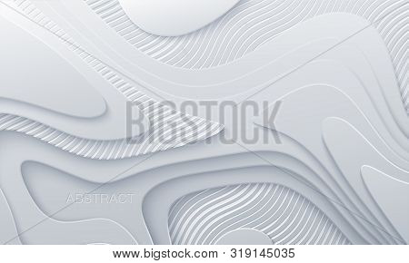White paper cut background. Abstract realistic papercut decoration with wavy layers and engraved striped pattern. 3d topography relief. Vector topographic illustration. Cover layout template. poster